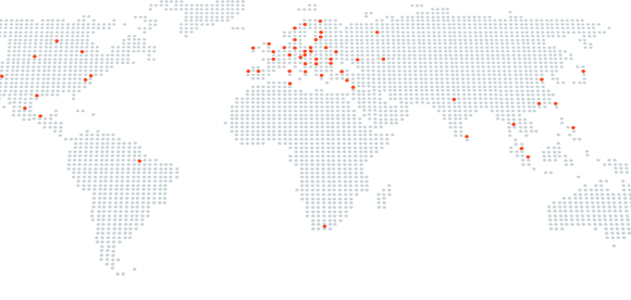 Fineline offices in a global map